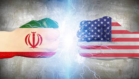 Symbol picture rivalry USA and Iran
